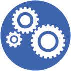 3 white and blue cogs